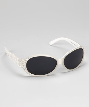White Rhinestone Heart Sunglasses
