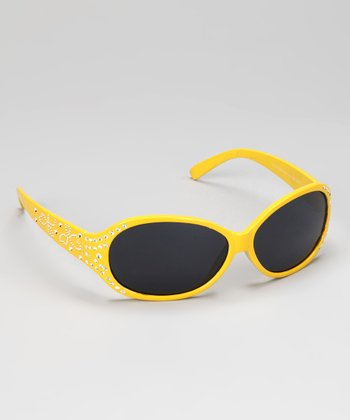 Yellow Rhinestone Heart Sunglasses