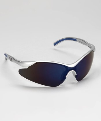 Silver & Blue Rubber Curve Sunglasses