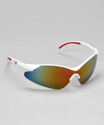 White & Red Rubber Curve Sunglasses