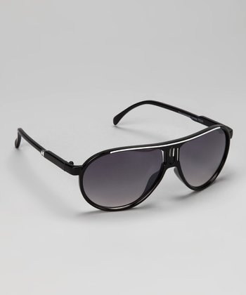 Black & White Stripe Pilot Sunglasses