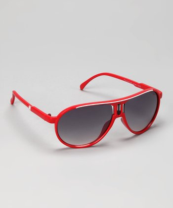 Red & White Stripe Pilot Sunglasses