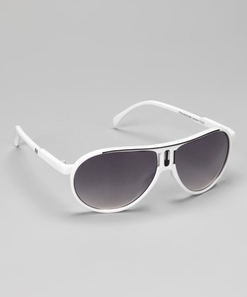 White & Black Stripe Pilot Sunglasses