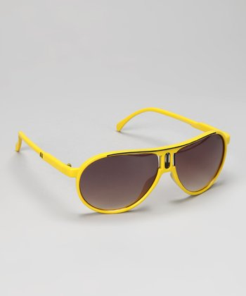 Yellow & Black Stripe Pilot Sunglasses