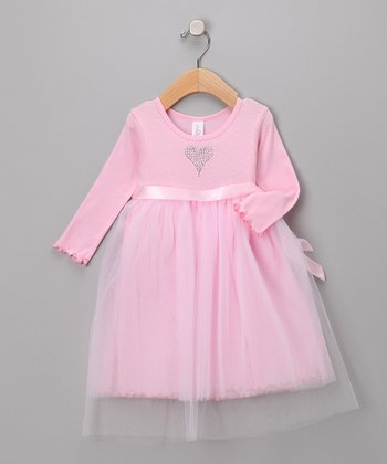 Pink Long-Sleeve Tulle Dress - Infant & Toddler