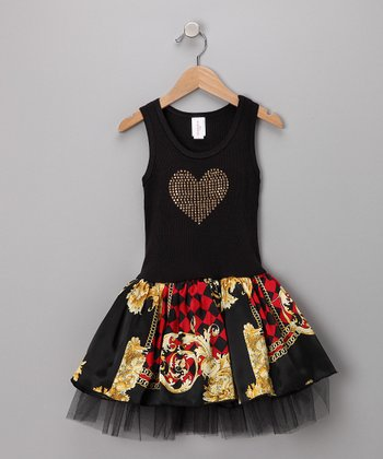 Black & Gold Floral Tulle Dress