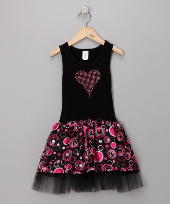 Black & Pink Circle Tulle Dress - Toddler & Girls