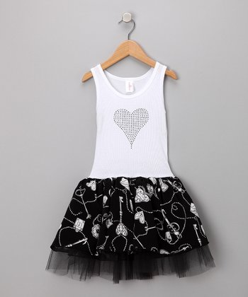 White & Black Locket Tulle Dress - Toddler & Girls