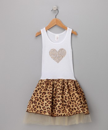 White & Leopard Tulle Dress - Toddler & Girls