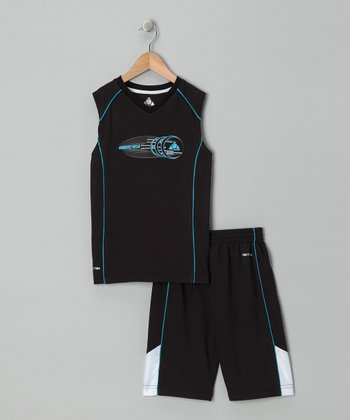 Black & Teal Tank & Shorts - Infant, Toddler & Boys