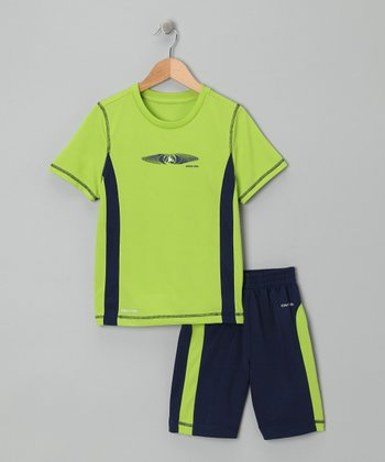 Lime & Navy Stripe Tee & Shorts - Infant & Toddler