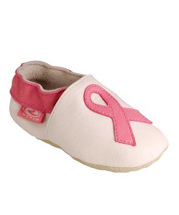 White & Pink Ribbon Booties