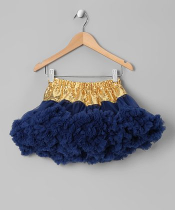Navy Blue & Yellow Pettiskirt - Girls