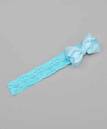 Baby Blue Lace Bow Headband