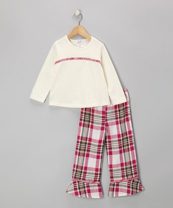 White Tee & Pink Plaid Pants - Toddler & Girls