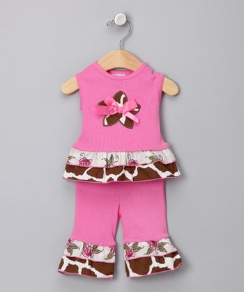 Pink & Brown Giraffe Tank & Pants - Infant
