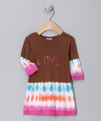 Brown Tie-Dye 'Love' Dress - Infant