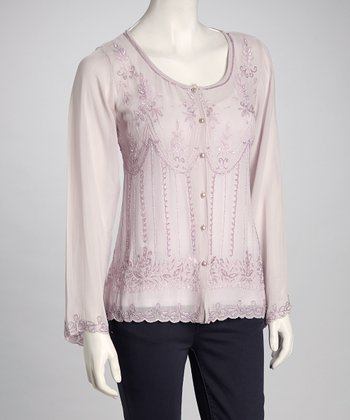 Purple Beaded Button-Up Top