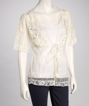 Ivory Embroidered Sheer Tie-Front Cardigan