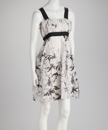 Black & White Floral Silk-Blend Empire-Waist Dress