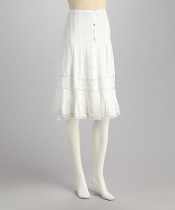 White Button-Front Skirt