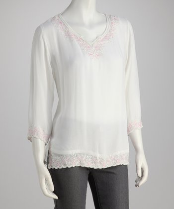 White & Pink Embroidered Three-Quarter Sleeve Top