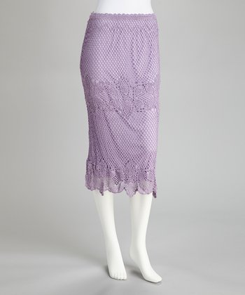 Lilac Crocheted Panel Skirt