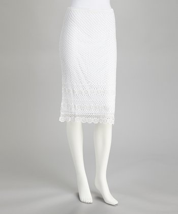 White Floral Crocheted Skirt