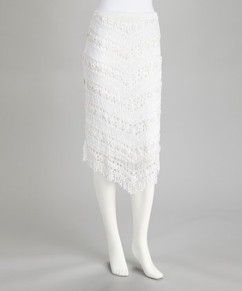 White Crocheted Fringe Skirt