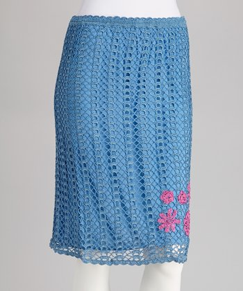 Blue Embroidered Crocheted Skirt