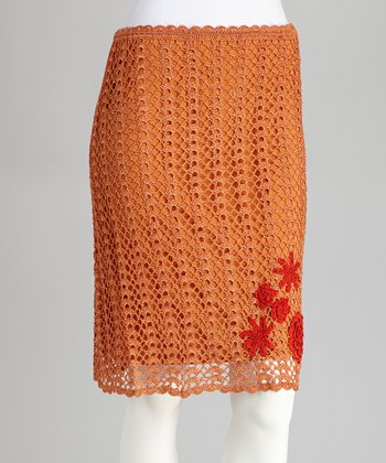Pumpkin Embroidered Crocheted Skirt