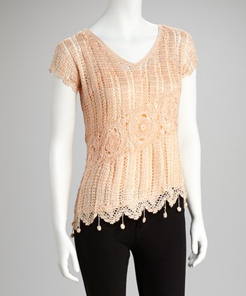 Peach Crocheted Top