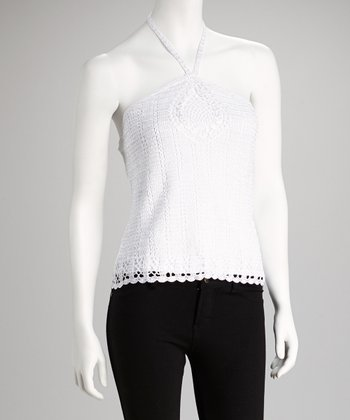 White Crocheted Halter Top