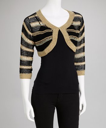 Black & Gold Stripe Crocheted Wool-Blend Bolero