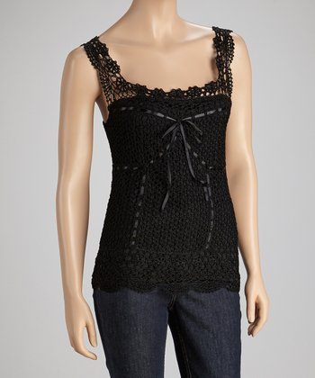Black Tie Crocheted Tank