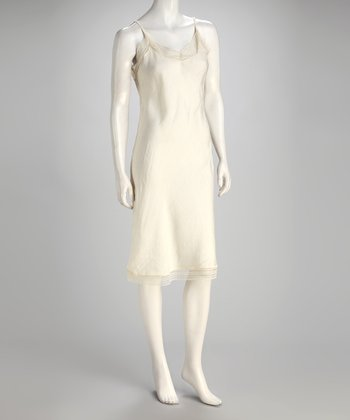 Ivory Silk-Blend Dress