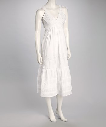 White Embroidered Surplice Sundress