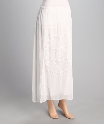 White Embroidered Sidetail Skirt