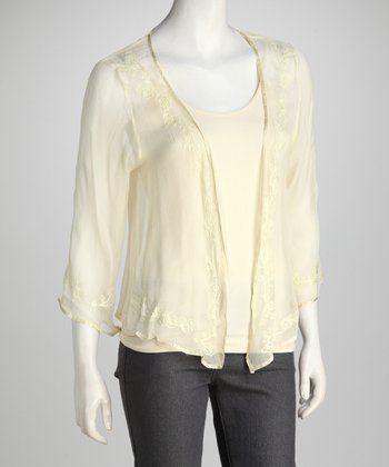 Cream Sheer Open Cardigan