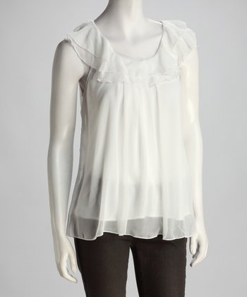Cream Ruffle Yoke Top