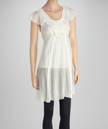White & Cream Lace Angel-Sleeve Tunic