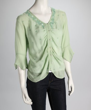 Light Green Sheer Button-Up