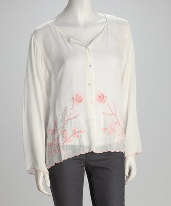 White & Pink Sequin Button-Up Top