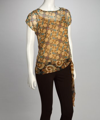 Brown Cross Sheer Sideknot Top