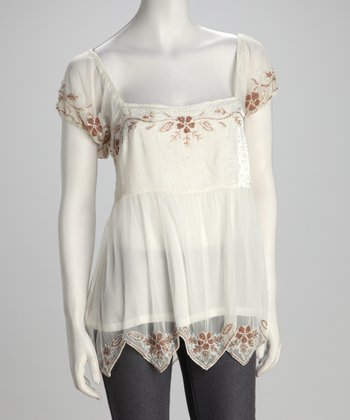 White Beaded Peasant Top