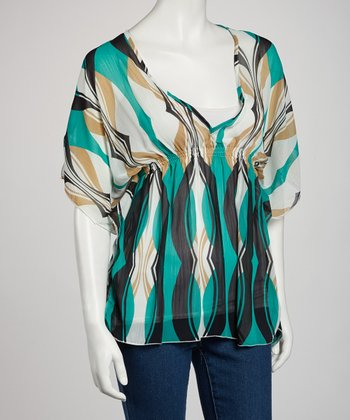 Teal Abstract Cape-Sleeve Top