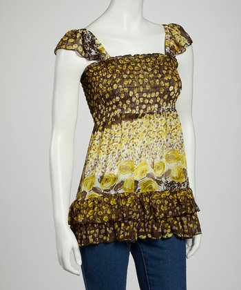 Yellow Abstract Ruffle Sleeveless Top