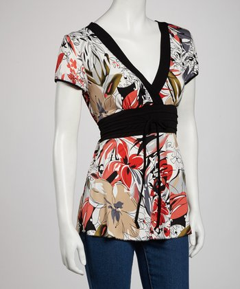 White & Red Floral Surplice Top