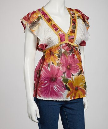 Pink Floral Silk-Blend V-Neck Top