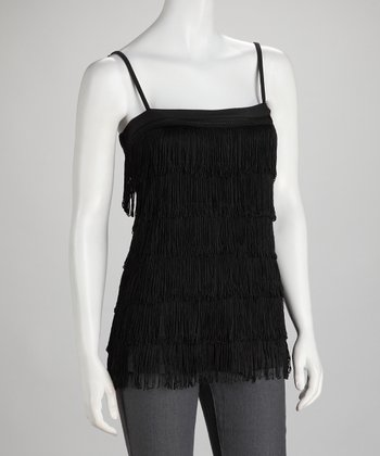 Black Fringe Tier Top